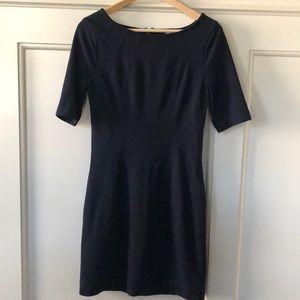 Navy sheath stretch dress with seam detail